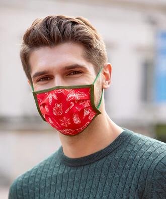 - 5 li Maisonette Yıkanabilir Pamuklu Yüz Maskesi Baskılı Kırmızı