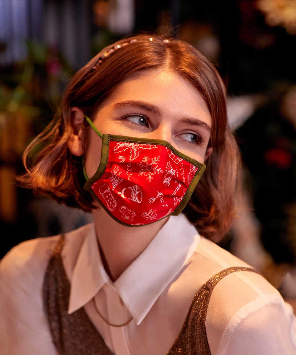 5 li Maisonette Yıkanabilir Pamuklu Yüz Maskesi Baskılı Kırmızı