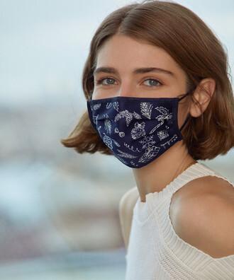 - 5 li Maisonette Yıkanabilir Pamuklu Yüz Maskesi Baskılı Lacivert