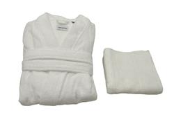- Tek Kişilik Bornoz Takımı Beyaz Kimono Yaka