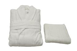 - Tek Kişilik Bornoz Takımı Beyaz Şalyaka