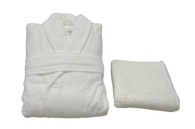 Tek Kişilik Bornoz Takımı Beyaz Şalyaka